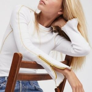 Free People White & Gold Zip Cuff Thermal L